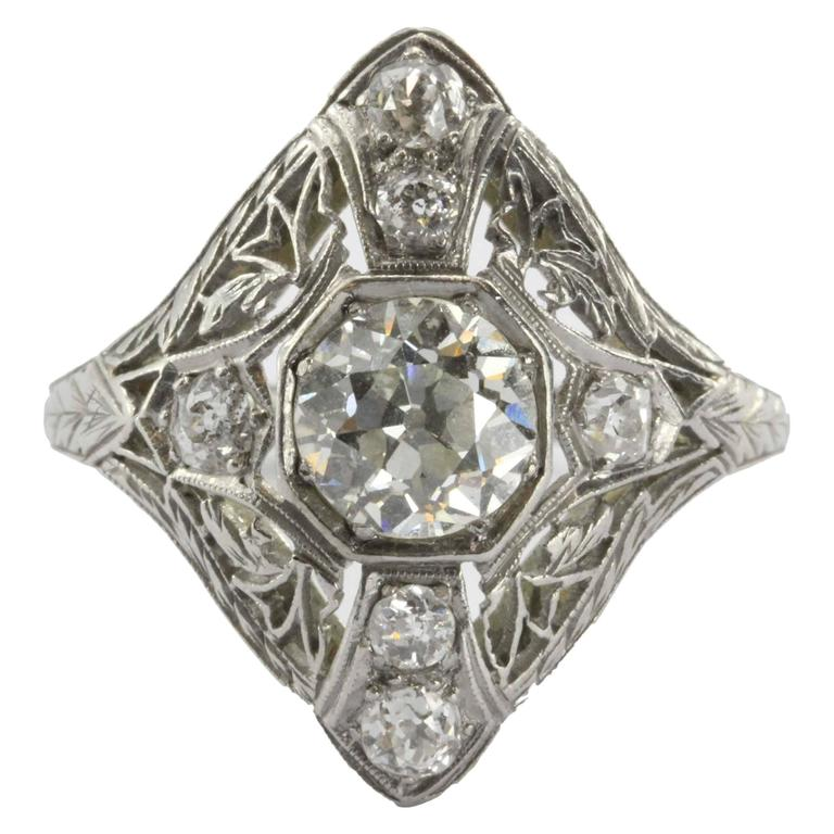 Art Deco Filigree Platinum 1.5 Carats Diamond Engagement Ring
