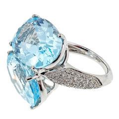 Antonini Panama Double Aquamarine Diamond Gold Ring
