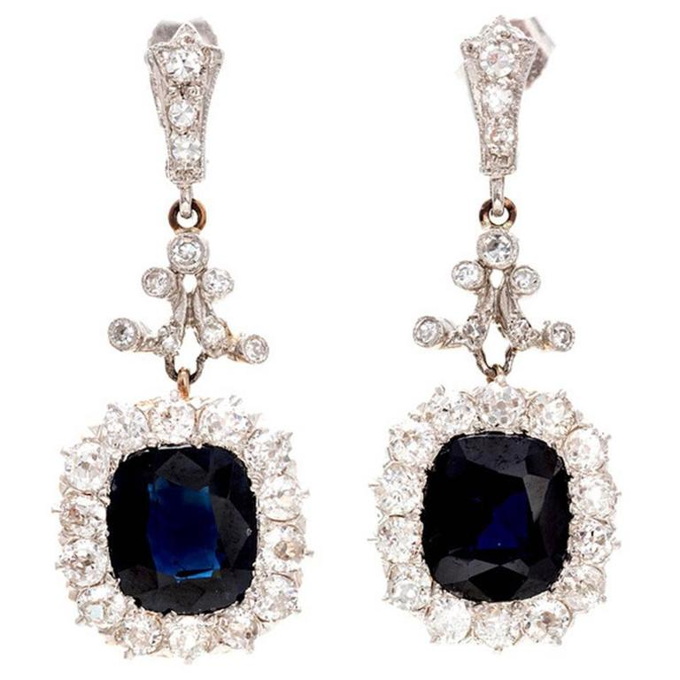 Royal Blue Natural Shire Diamond Gold Platinum Dangle Earrings For