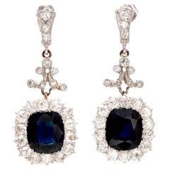 Royal Blue Natural Sapphire Diamond Gold Platinum Dangle Earrings