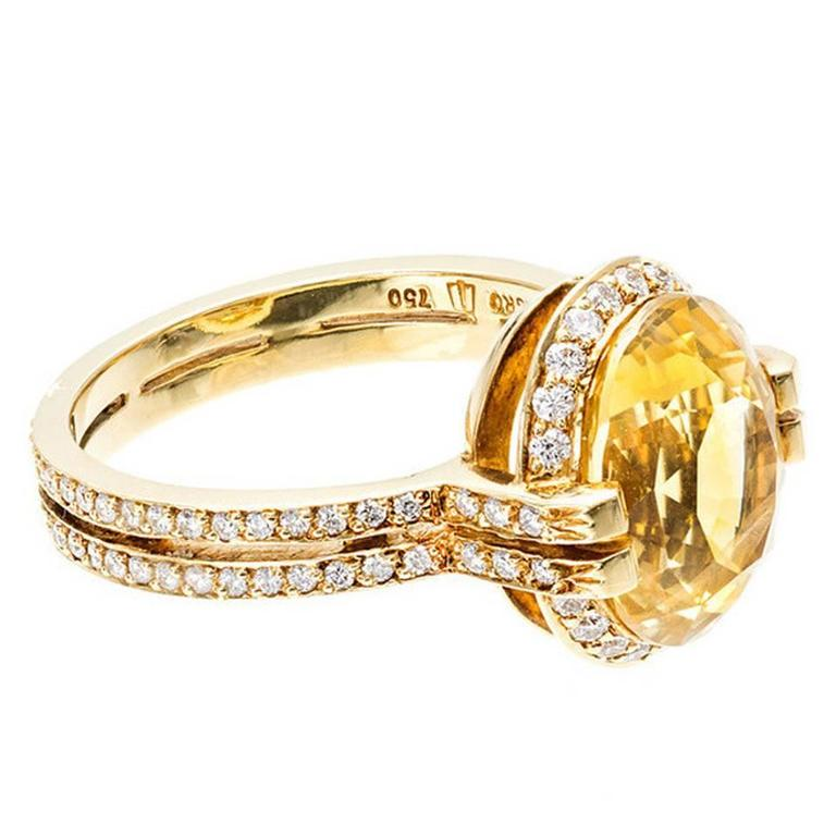 Tanagro Natural Yellow Sapphire Diamond Gold Ring