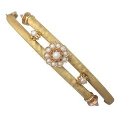 Pearl and 22K Yellow Gold Bangle - Antique Victorian