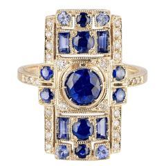 Sabine Getty Art Deco Style Blue Sapphire Diamond Gold Harlequin Ring
