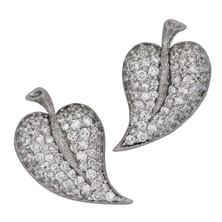 Diamond Gold Textured Leaf Earrings by Alex Soldier Ltd Ed Handmade in NYC For Sale