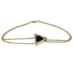 Black Sapphire Pyramid Diamond and 18K Gold Bracelet