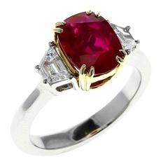 2 Carat Burma No Heat Ruby Diamond Gold Platinum Ring