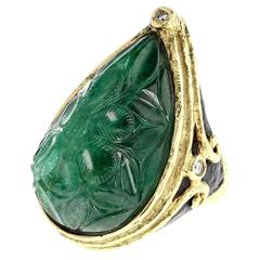 Carved Emerald and Diamond Ebony Gold Ring