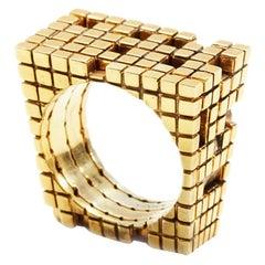 Metatron Blockchain Four-Part Gold Ring