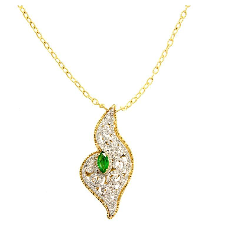 Stambolian Tsavorite Diamond Gold Pendant Necklace