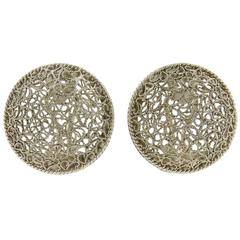 Buccellati Filidoro Silver Openwork Circle Earrings