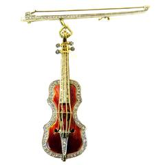 Spectacular Signed Stradavarius Diamond Enamel Violin and Bow Brooch