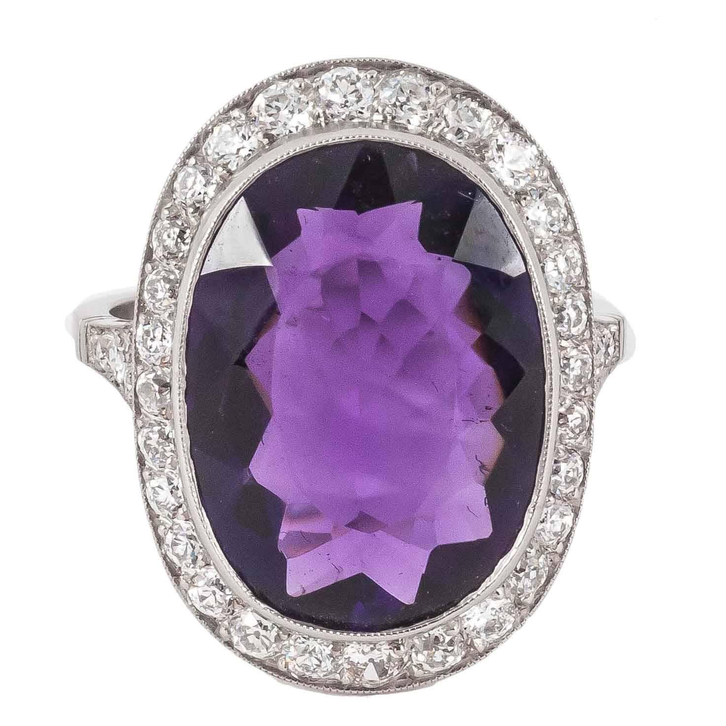 amethyst platinum cluster ring at 1stdibs