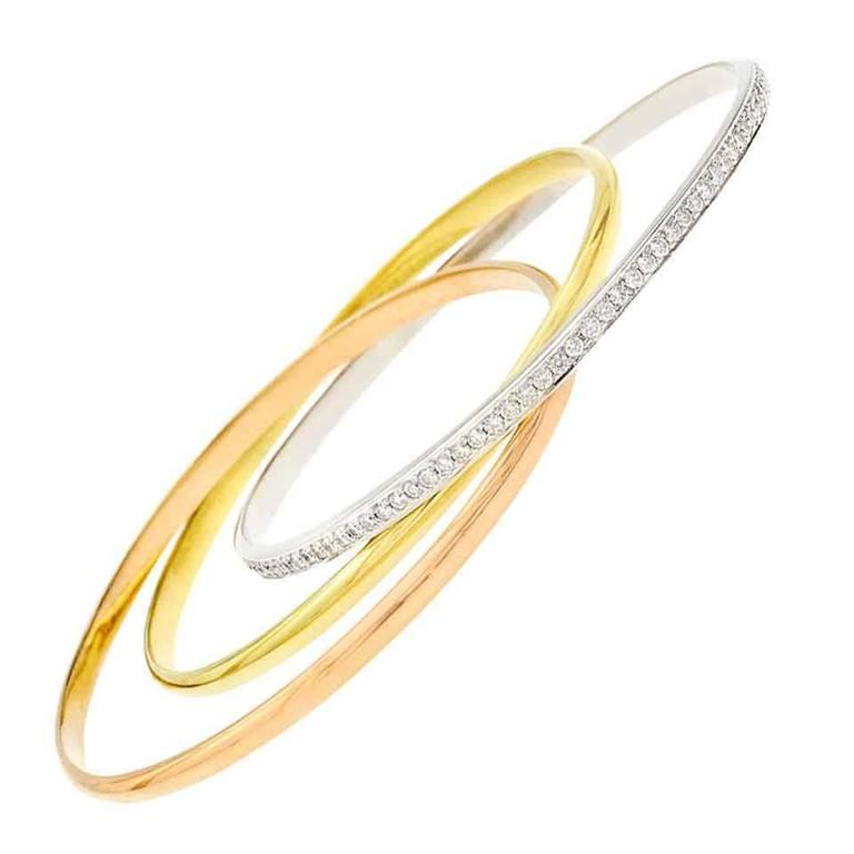 Diamond Tricolor Gold Rolling Bangle Bracelet