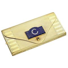 Lapis Diamond Gold Vanity Compact