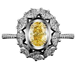 Alexandra Mor Diamond Blossom Ring with 1.77 Ct GIA Fancy Yellow Oval Diamond