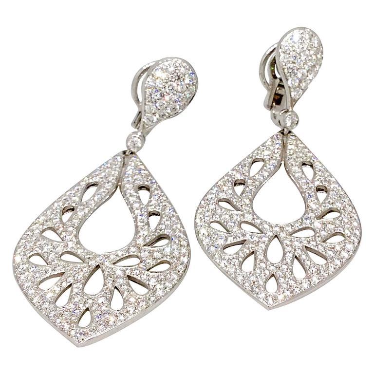 Crivelli Pave Diamond Gold Drop Earrings