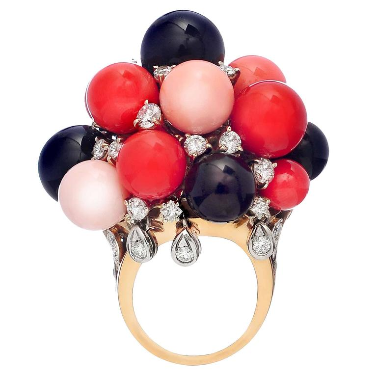 Coral Black Jade Diamond Two Color Gold Ring
