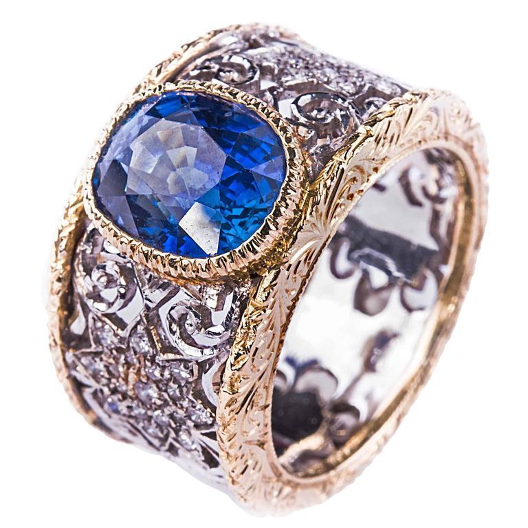 Buccellati Sapphire Diamond Gold Ring 1
