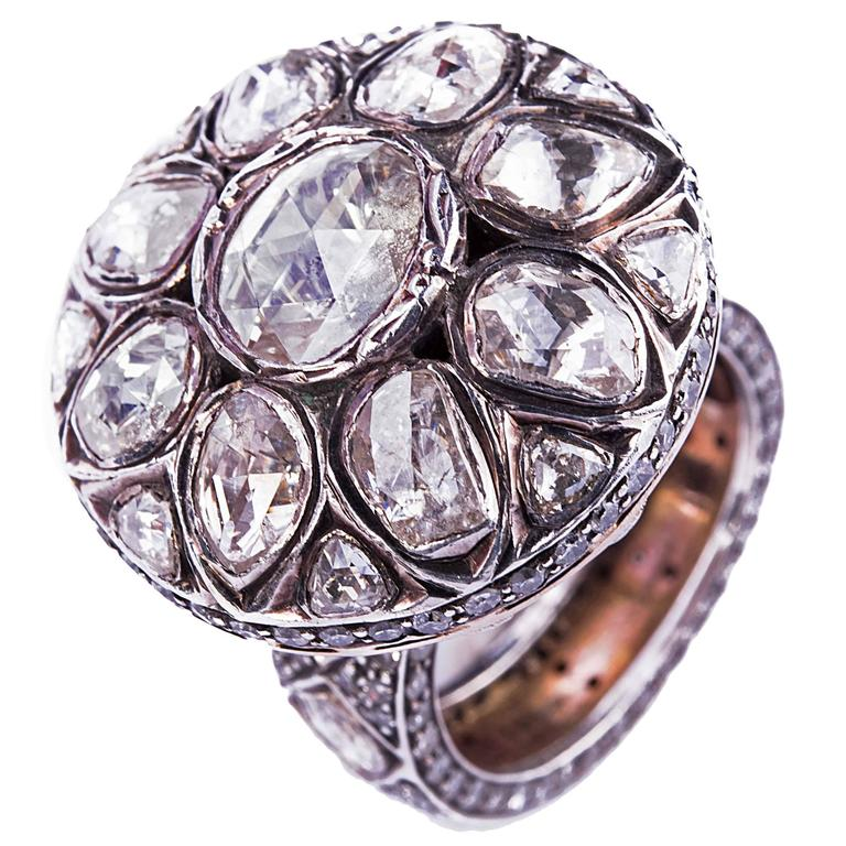 Traditional diamond two color gold wedding ring at 1stdibs for Orthodox wedding rings for sale