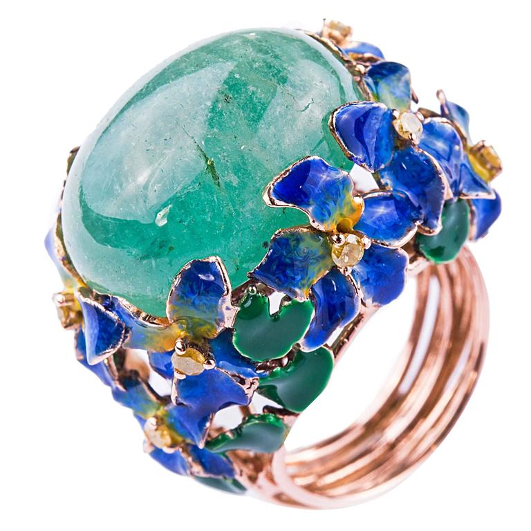 Enamel Cabochon Emerald Diamond Gold Ring 1