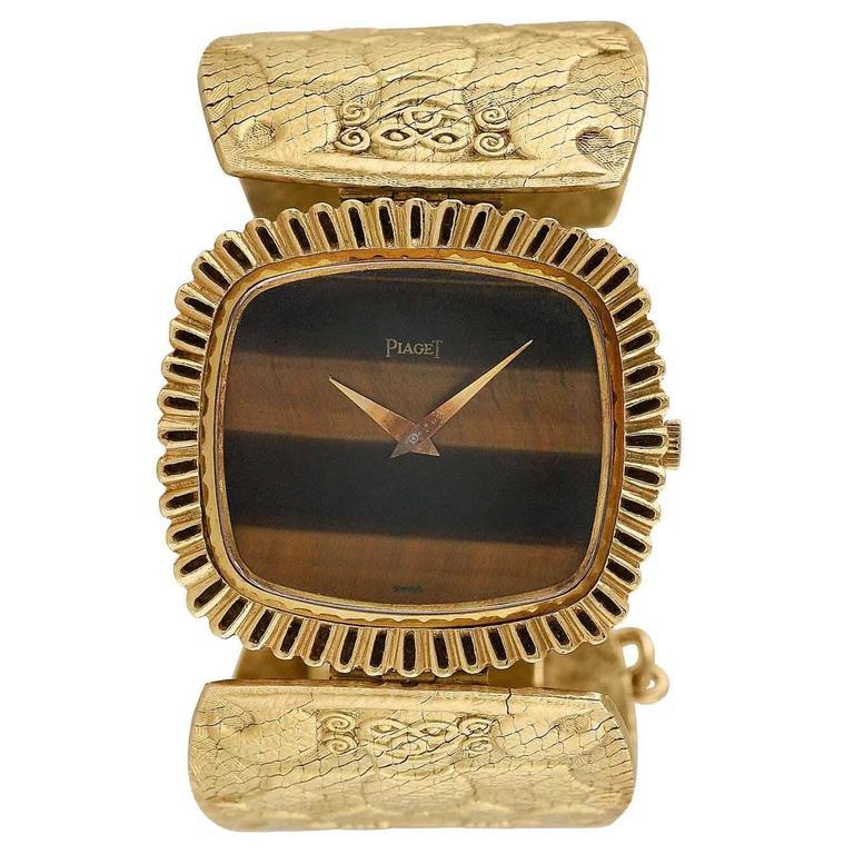 Piaget Lady's Yellow Gold Tiger's Eye Bracelet Wristwatch