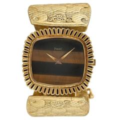 Piaget Lady's Yellow Gold Tiger's Eye Bracelet Wristwatch