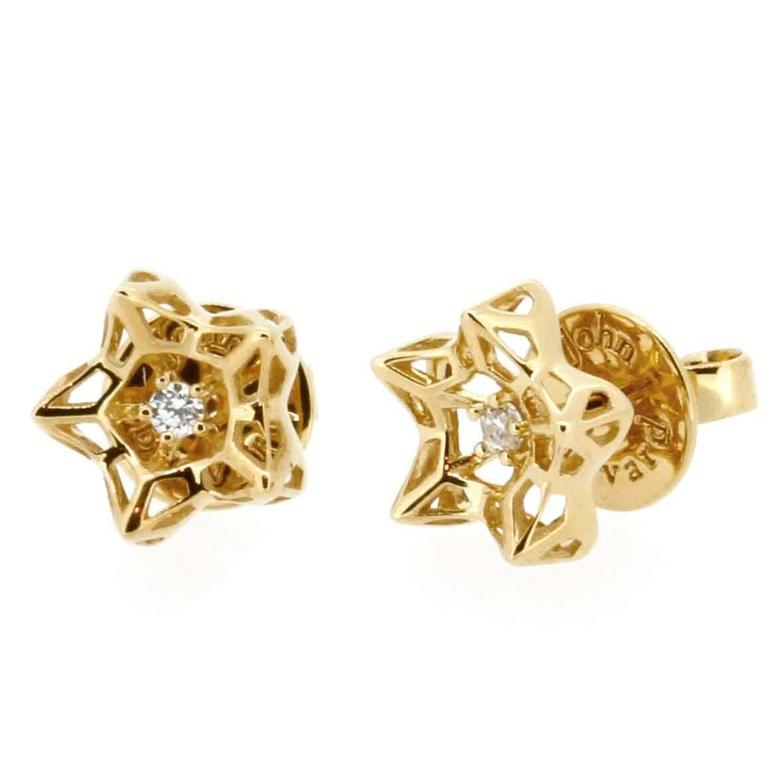 Mini Tria Frame Diamond Gold Stud Earrings