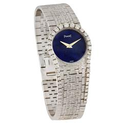 Piaget Lady's White Gold Diamond Lapis Lazuli Wristwatch