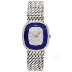 1970's Piaget White Gold Lapis Lazuli Diamond Bracelet Wristwatch