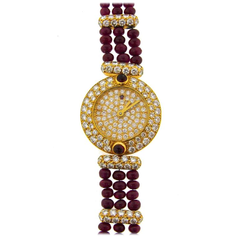Boucheron Lady's Yellow Gold Diamond Ruby Quartz  Wristwatch For Sale