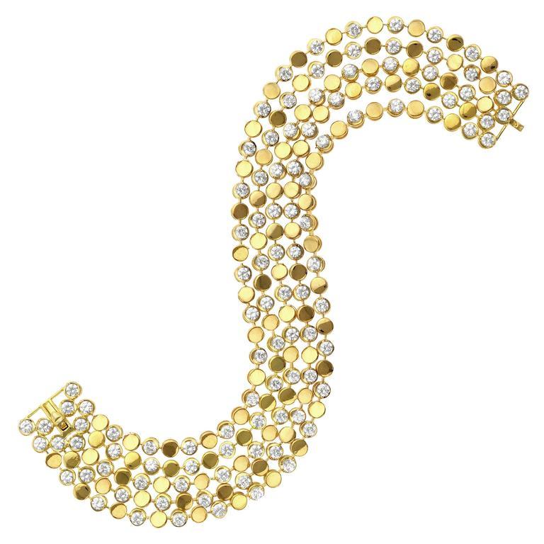 Diamond Gold Flexible Four Row Bracelet