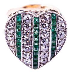 Victorian Emerald Diamond Gold Heart Shape Ring