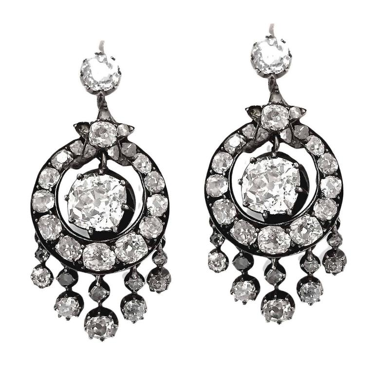 Victorian 6 Carat Diamond Silver White Gold Chandelier Earrings 2