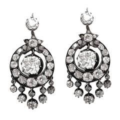 Victorian 6 Carat Diamond Silver White Gold Chandelier Earrings