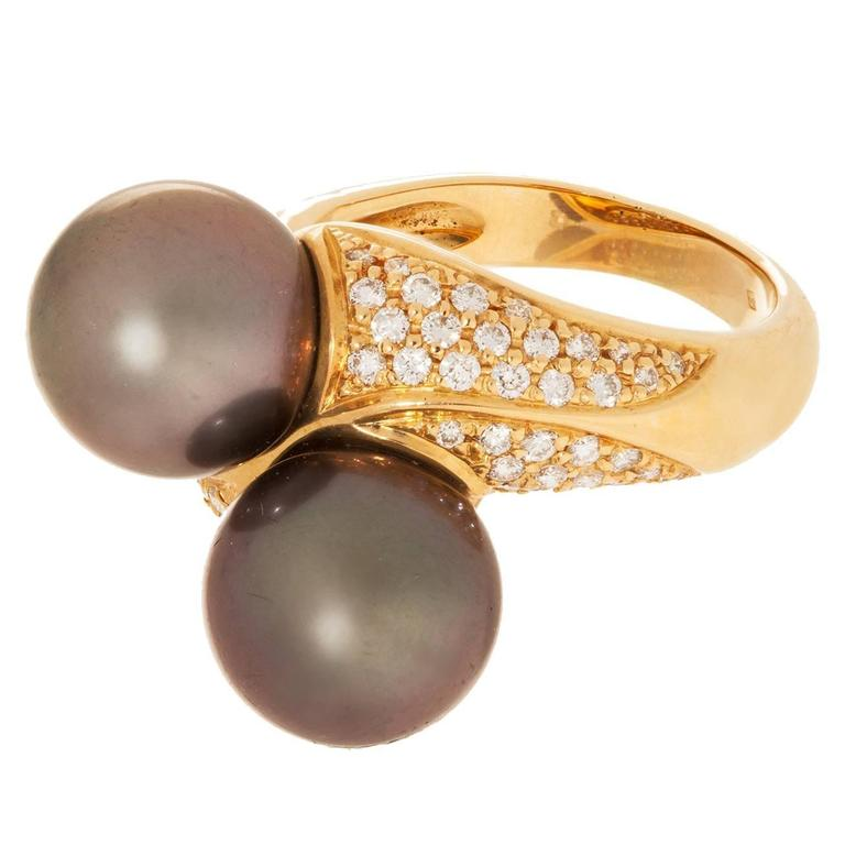 Tahitian Pearl and Pave Diamond Gold Bypass Ring