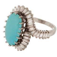 Turquoise  Diamond Ballerina Platinum Ring