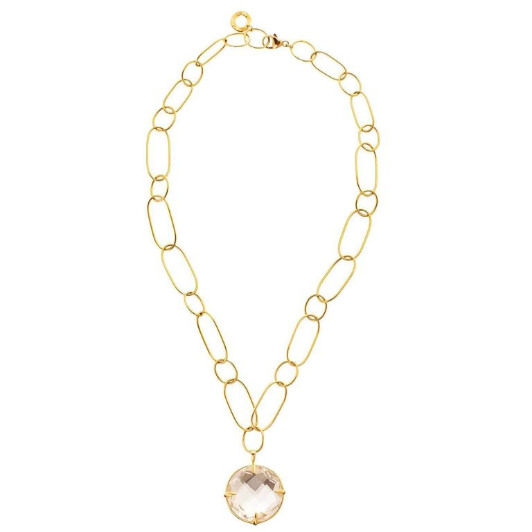 Ippolita Rock Crystal Quartz Open Link Gold Pendant Necklace 1