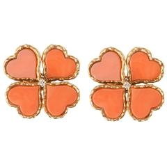 Coral Diamond Gold Clover Earrings