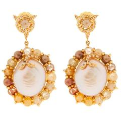 Multi Colored Pearl Diamond Gold Dangle Earrings