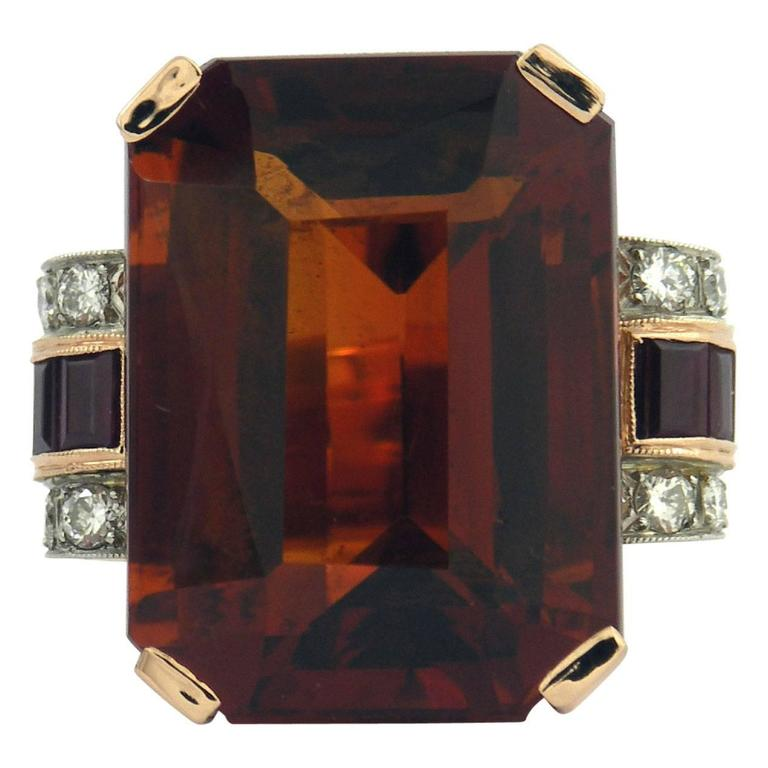 Retro Citrine Ruby Diamond Gold Platinum Ring For Sale