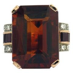 Retro Citrine Ruby Diamond Gold Platinum Ring