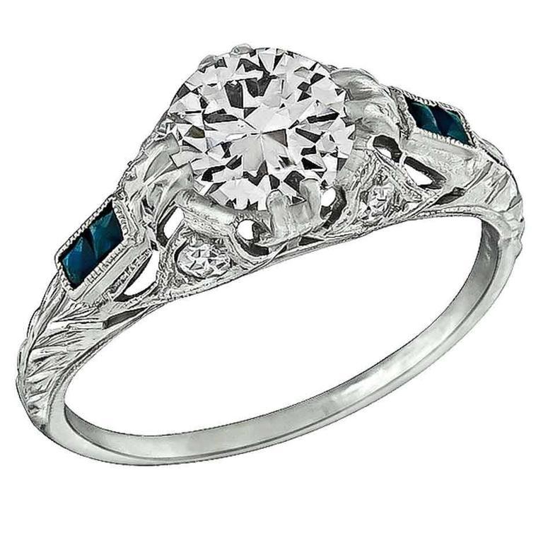 1.02 Carat Diamond Sapphire Platinum Engagement Ring