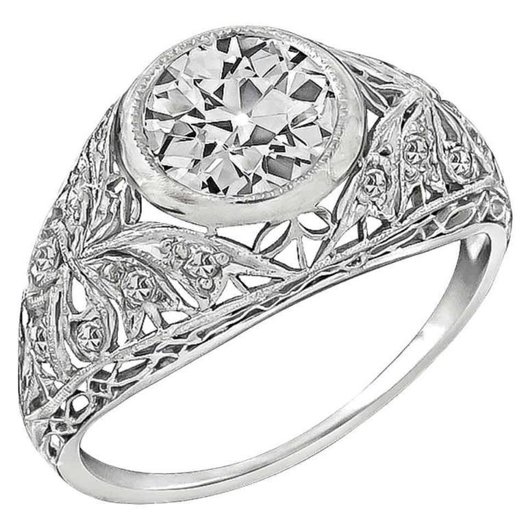 1.50 Carat GIA Diamond Platinum Engagement Ring