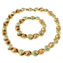 Stunning Two Color Gold Nugget Bracelet and Necklace Set