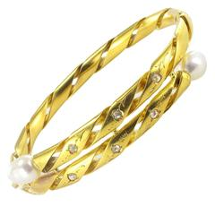 Antique Engraved Pearl Fine Diamond Gold Bangle Bracelet