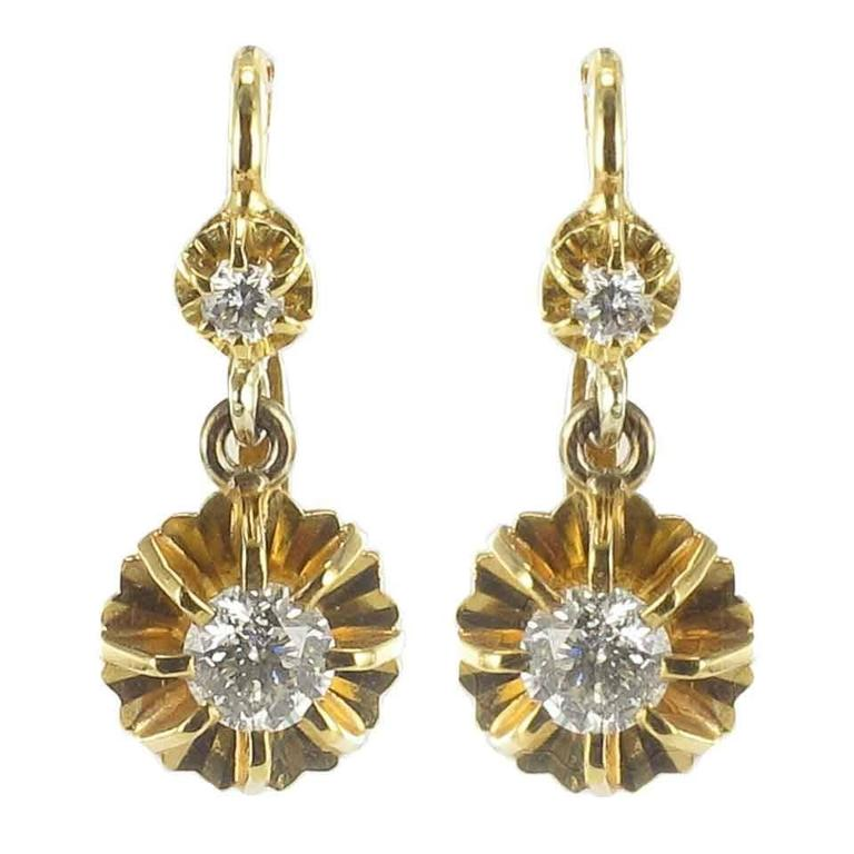 1950s French Diamond Gold Dangle Earrings  1