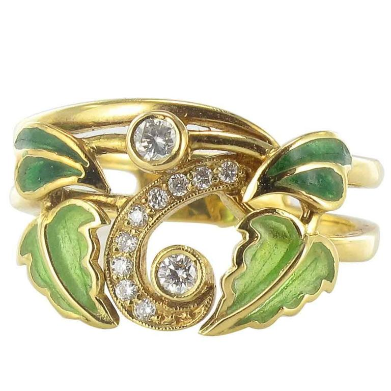 Enamel Diamond Gold Ring