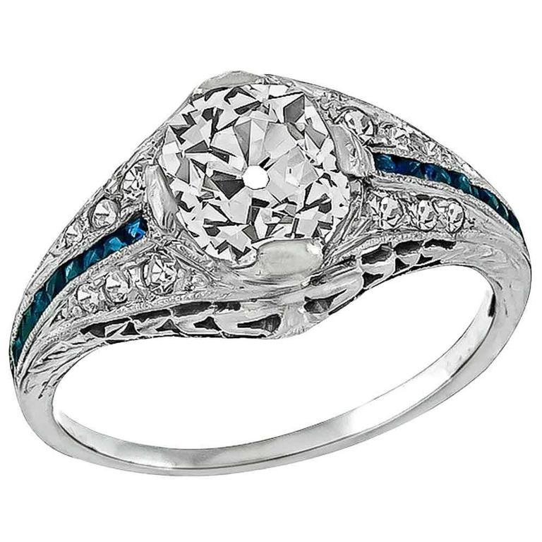 Stunning 1.28 Carat Old Mine Cushion Cut Diamond Platinum Engagement Ring