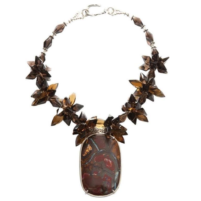 Deborah Liebman Australian Boulder Opal Pendant Whiskey Citrine Silver Necklace For Sale