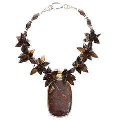 Deborah Liebman Australian Boulder Opal Pendant Whiskey Citrine Silver Necklace